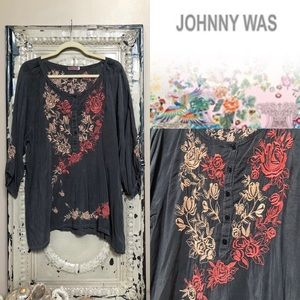 Johnny Was Rose Floral Embroidered Peasant Top